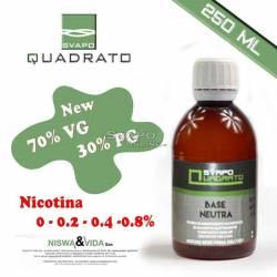 Svapo Quadrato Liquido Base 70VG 30PG 250ml Senza Nicotina